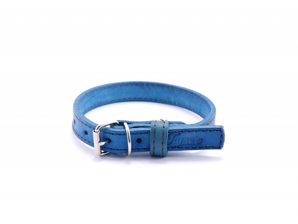 Kožený obojek STUBBY mini | modrý